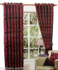 Luxury Flocked Curtains Pair Of Ring Top Window Curtains Fully Lined & Tie BacK