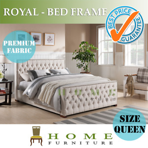 BRAND NEW Various size Upholstered Beige Linen Fabric Bed Frame - ROYAL