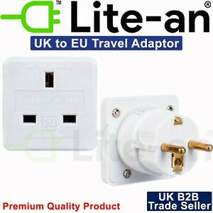*CE Approved* UK To EU Euro Europe European Travel Adaptor Plug 2 Pin Adapter