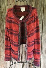 ROMEO AND JULIET COUTURE M Red Chain Open Cardigan Sweater NWT