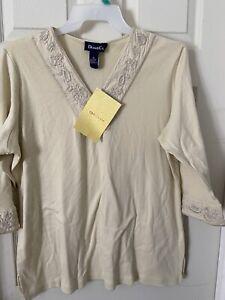DENIM & CO. NWT 1X Jersey V-Neck w Embroidery Neck& Sleeves Khaki Top NWT