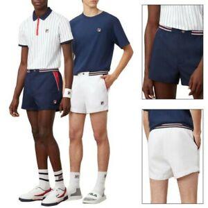 Fila Mens Slim Fit Retro 80s Vintage Hightide Terry Toweling Tennis Gym Shorts