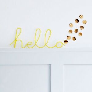 Bombay Duck 'Hello' Word in Yellow Wire - Room Plaque Wall Decoration