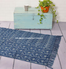 3 X 5 ft Indigo Blue Cotton Block Print Area Accent Dhurrie Rug Hand Woven Throw