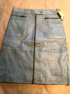 NEW Jessie Della Femina Distressed Blue Leather Skirt - 2