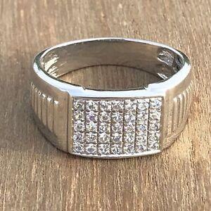 Men's Round Cut Diamond Engagement Wedding Pinky Ring Band 14K White Gold Finish