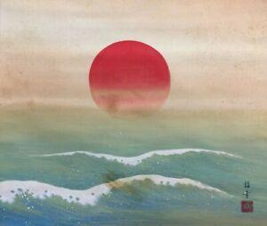 T0143 Japanese Hanging Scroll Kakejiku Hand Paint Silk Sea Scape Antique