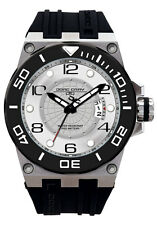 Jorg Gray Mens JG9600-11 White Dial Black Silicone Band Stainless Steel Watch