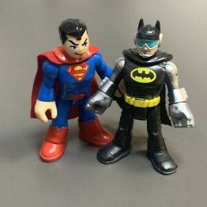 2PCS Imaginext DC Super Friends Superman & Batman Silver Arm Visor Figures Toy