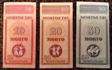 Lote de 3 X Mongolia billetes. 10, 20, 50 Mongo. Universal.