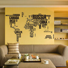 Large World Map in Words Removable Vinyl Wall Sticker Decal Mural Art Home Decor