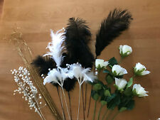 Black & White Ostrich Feathers, White Silk Roses, Beading - Asstd. Floral Craft