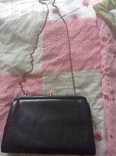 Ladies True Vintage Black Leather Style Clutch Bag 80s Jane Shilton Janelle