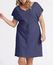 Fresh Produce Bistro Plus Size 1X Moonlight Blue Dress Empire Waist cotton light