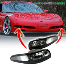 Fits For 1997 to 2004 CHEVY CORVETTE-C5 Front Bumper Lamps Set Black LH RH