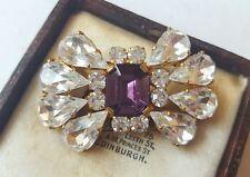 Vintage 1940s Rhinestone púrpura Broche Vintage Estilo De Papel De Aluminio Atrás Edwardian
