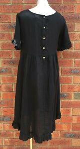 Gathered Frill Hem Black Linen Dress NWT sizes 12 14 16 18