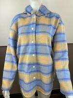 Wild Fable Womens Blue Plaid Long Sleeve Hooded Snap Front Shirt Jacket Medium