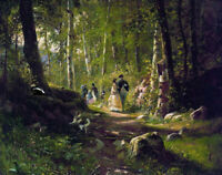 A Walk In The Forest Ivan Shishkin Fine Art Print on Canvas Giclee poster Small