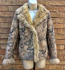 MINUET Fur Lined Unusual Floral Patterned Jacket Size UK 8