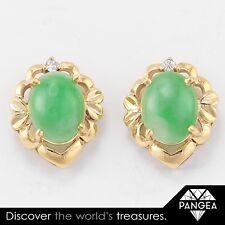 3eded337e Vintage Estate 14k Solid Yellow Gold Jadeite Diamond Stud Earrings 3.3 grams
