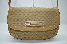 Gucci Vintage Monogram Canvas Leather Trim Tan Flap Logo Baguette