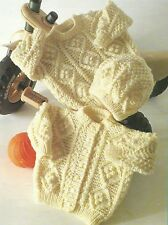 "Baby Sweater Cardigan and Hat Kniting Pattern in Aran 16-22"" 252"