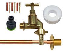 KIT rubinetto esterno con rubinetto Heavy Duty, flangia a parete e raccordo del tubo da giardino