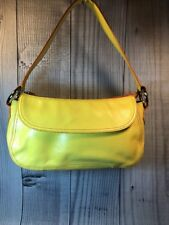 Franco Sarto Baguette Yellow Leather Purse Orange Trim Zip Close Side Flap EUC