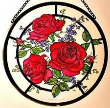 Decorative Winged Heart Hand Painted Stained Glass Roundel - Red Roses