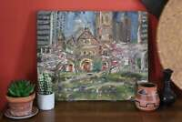 Vintage Mission Church Oil Painting, Unframed Post Impressionist Art Painting