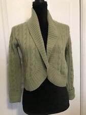 Max Mara Cashmere Blend CABLE KNIT SWEATER Sage Green One-Button Crop Cardigan S