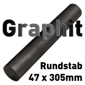 "Graphit Rundmaterial 47 x 305mm Zylinder Elektrode Stab Kohlenstoff 1.85""x12"" 50"