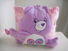 "Care Bears SHARE BEAR Pink Purple Plush Pillow 11"" X 11"""