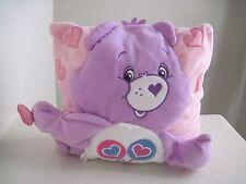 "Care Bears SHARE BEAR Pink Purple Plush Pillow 11"" X 11"""