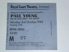 PAUL YOUNG 1983 Tour - Liverpool 03-Oct-83 Ticket stub