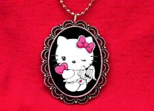 HELLO ANGEL KITTY HEART WINGS PENDANT NECKLACE KAWAII