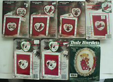 6 NEW BERLIN CHRISTMAS CROSS STITCH CARD KITS &1 DALE BURDETT PAJAMA GIRL & BEAR