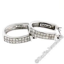 14K White Gold 1.17ctw Dual Princess Cut Diamond Oval Hoop Huggie Cuff Earrings