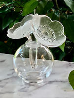 Lalique Two Anemones Perfume Bottle in Mint Condition Signed French Crystal