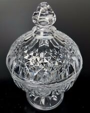 """Crystal Candy Bowl with Lid Pedestal 4"""" Diameter Round"""