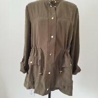 Zara Basics Olive Green Utility Jacket Size Large Women's Lightweight Army
