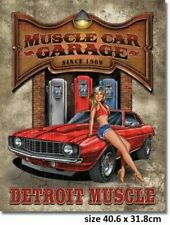 Muscle Car Garage Tin Sign 1568 Made in USA Camaro, Licensed Sign Not Chinese