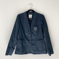 Lacoste Women's Sz 40 M Roland Garros Blazer Silk Cotton Jacket Black Logo Work