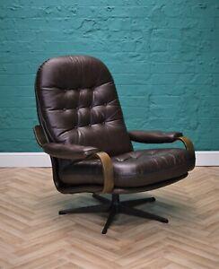 Mid Century Retro Danish Brown Leather Swivel Bentwood Lounge Armchair