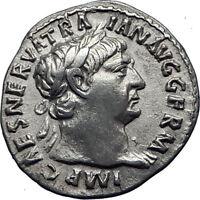 TRAJAN  101AD Rome Authentic Genuine Ancient Silver Roman Coin Hercules i70340