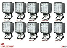 10x 48w Square 16 Led 12v / 24v Led Work Lights Flood Beam Lamp 4wd Jeep Suv Atv