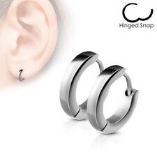 Pair of Stainless Steel silver Small Plain Dome Hoop Huggie Earrings Men/Women