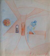 Jean SIGNOVERT 1919-1981. Composition surréaliste.Pastel.24x22.SBD.1956.