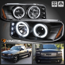 1999-2006 GMC Sierra Denali Yukon XL LED Halo Projector Black Headlights